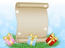 Fondo di Natale con il foglio di carta, rami verdi e Immagini Stock Libere da Diritti
