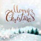 Fondo di Natale con il paesaggio e gli abeti nevosi di inverno Iscrizione di festa Immagini Stock Libere da Diritti