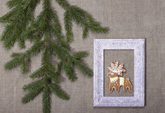 Fondo di Natale con il pan di zenzero sotto forma di cervo dentro Fotografie Stock