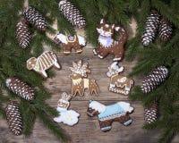 Fondo di Natale con il pan di zenzero sotto forma di figu animale Immagine Stock