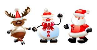 Fondo di Natale con il pupazzo di neve, caratteri di Natale di Santa Immagini Stock Libere da Diritti