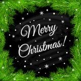 Fondo di Natale con il ramo, i fiocchi di neve e la lavagna Immagini Stock Libere da Diritti