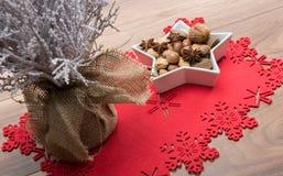 Fondo di Natale con l'albero innevato Immagini Stock