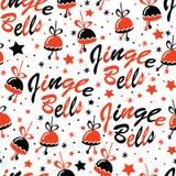 Fondo di Natale con l'iscrizione di Jingle Bells Fotografie Stock