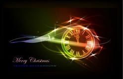 Fondo di Natale con l'orologio Immagini Stock Libere da Diritti