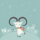 Fondo di Natale con la capra Illustrazione di vettore Royalty Illustrazione gratis