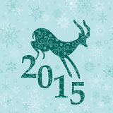 Fondo di Natale con la capra verde smeraldo Illustrazione di Stock