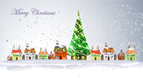 Fondo di Natale con la città ed i presente Immagini Stock