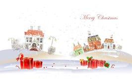 Fondo di Natale con la città ed i presente Immagine Stock