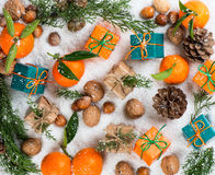 Fondo di Natale con la decorazione festiva Fotografia Stock