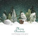 Fondo di Natale con la foresta Fotografia Stock