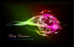 Fondo di Natale con la palla al neon del effecr Fotografia Stock Libera da Diritti