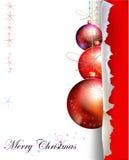 Fondo di Natale con la palla e carta con spac Fotografie Stock