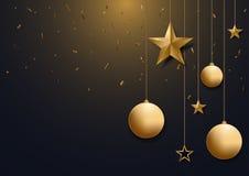 Fondo di Natale con la palla e la stella di natale dell'oro e spazio per testo, royalty illustrazione gratis