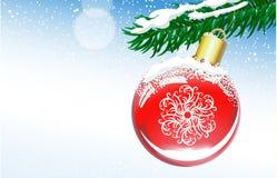Fondo di Natale con la palla ed il ramo attillato Fotografia Stock Libera da Diritti