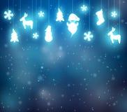 Fondo di Natale con la renna, Santa ed i fiocchi di neve Fotografia Stock Libera da Diritti