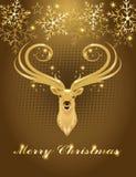 Fondo di Natale con la testa dei cervi dell'oro Immagine Stock