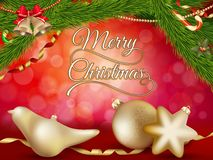Fondo di Natale con le bagattelle dell'oro ENV 10 Fotografie Stock