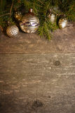 Fondo di Natale con le decorazioni d'annata Fotografia Stock