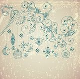 Fondo di Natale con le decorazioni sveglie e gli elementi floreali Fotografie Stock Libere da Diritti