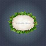 Fondo di Natale con le foglie dell'agrifoglio Fotografia Stock