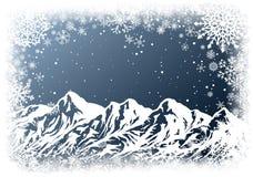 Fondo di Natale con le montagne illustrazione di stock