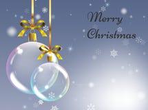 Fondo di Natale con le palle realistiche Bagattelle di natale Greetin Illustrazione di Stock