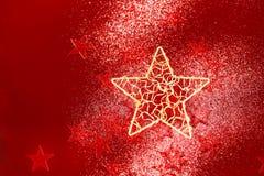 Fondo di Natale con le piccole stelle rosse Fotografie Stock Libere da Diritti