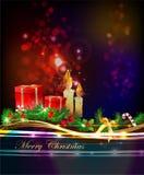 Fondo di Natale con le scatole e la candela dei presente Fotografia Stock