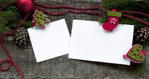 Fondo di Natale con Libro Bianco Fotografie Stock