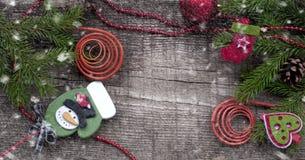 Fondo di Natale con Libro Bianco e neve Fotografia Stock