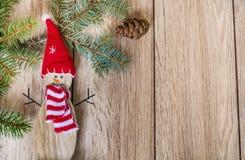 Fondo di Natale con lo spazio della copia e del pupazzo di neve Fotografia Stock Libera da Diritti