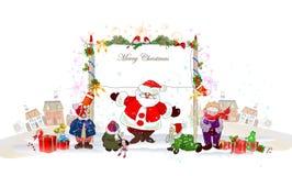 Fondo di Natale con Santa Immagine Stock