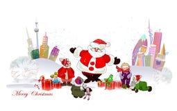 Fondo di Natale con Santa Fotografia Stock