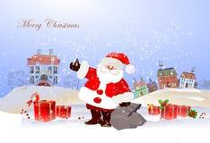Fondo di Natale con Santa Immagini Stock Libere da Diritti