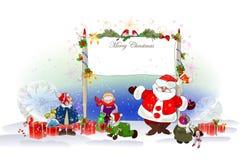 Fondo di Natale con Santa Fotografie Stock Libere da Diritti