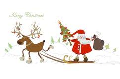 Fondo di Natale con Santa Immagine Stock Libera da Diritti
