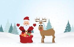 Fondo di Natale con Santa Claus e la renna Fotografia Stock Libera da Diritti
