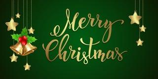 Fondo di Natale con testo scritto a mano Fotografia Stock