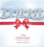 Fondo di Natale con un paesaggio nevoso e un arco rosso royalty illustrazione gratis