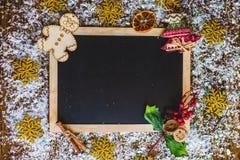 Fondo di Natale con un segno in bianco Fotografia Stock