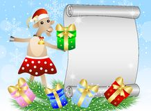 Fondo di Natale con una capra, il foglio di carta ed i regali Fotografia Stock
