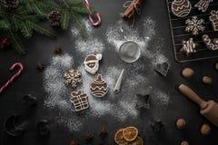 Fondo di natale dei coockies del pan di zenzero fotografia stock