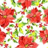 Fondo di Natale dell'acquerello con le foglie Fotografia Stock