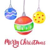 Fondo di Natale dell'acquerello con le palle di Natale Decorazione luminosa di natale Cartolina d'auguri di Buon Natale Vettore royalty illustrazione gratis
