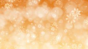 Fondo di Natale dell'oro con i fiocchi di neve e le scintille royalty illustrazione gratis