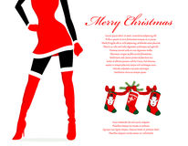 Fondo di Natale della ragazza di Santa Fotografie Stock