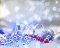 Fondo di Natale della scintilla con le decorazioni Immagine Stock