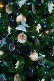 Fondo di Natale di abete decorato Fotografia Stock