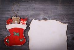 Fondo di Natale - messaggio per il concetto di Santa Claus Fotografia Stock Libera da Diritti